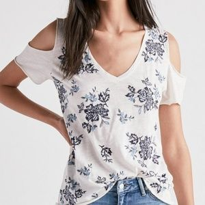 Lucky brand white cold shoulder t-shirt